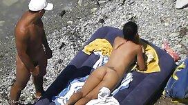 Mies, tyttö rannalla, lattialla ilmainen pano video